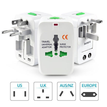 Picture of International Travel Plug Adapter Set Multi-Socket Outlet Travel Adapter Plug Charger.-White.