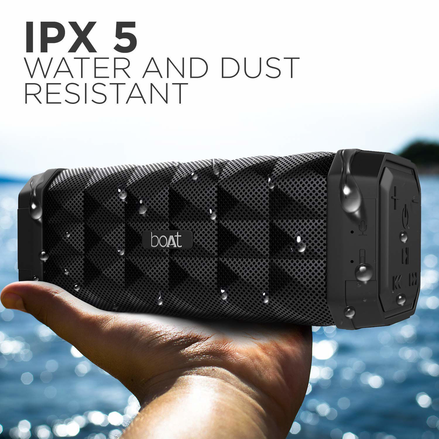 Picture of boAt Stone 650 Portable Wireless Speaker with 10W Stereo Sound, Powerful Bass, IPX5 Water & Splash Resistance, Multiple Connectivity Modes and Up to 7H Playback (Black)