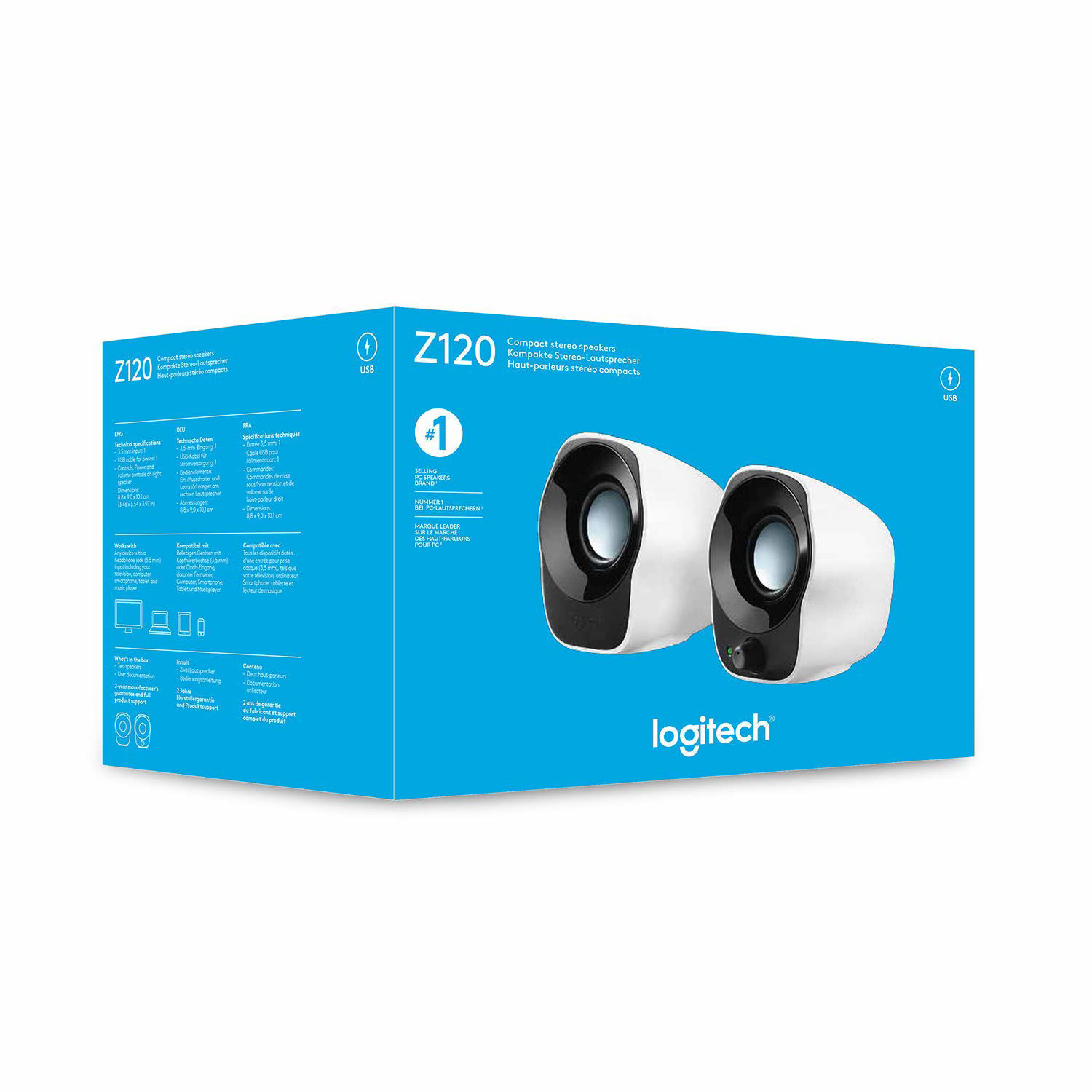 Picture of Logitech Z120 Stereo Speaker (Black and White)